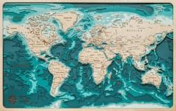 Деревянная рельефная карта мира (ENG) 60x40 WOODENMAP ART 2113
