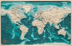 Деревянная рельефная карта мира (RU) 90x60 WOODENMAP ART 2115
