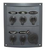 Панель с пятью переключателями и гнездом прикуривателя ART 4198 Splashproof switch panel