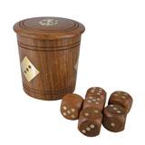 Деревянные игральные кости в бочонке ART 5420 Dice cup with 6 dices