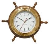 Часы-штурвал в иллюминаторе  ART 6234 Steer.wheel w/clock 30.5*5.7cm