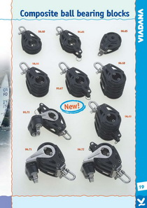 "Композитные блоки серии 96 D57/12 - Deel.ru  These new ball bearing blocks are extremely light and stronger. Use the 21/4"" composite blocks for mainsheet systems on catamarans and for control lines, vangs, cunningham and spinnaker on little and medium sail-boats. Delrin® sheave and ball bearings. Composite cheeks, stainless steel (AISI 316) rivets. All the blocks with shackle have universal 3-way head."